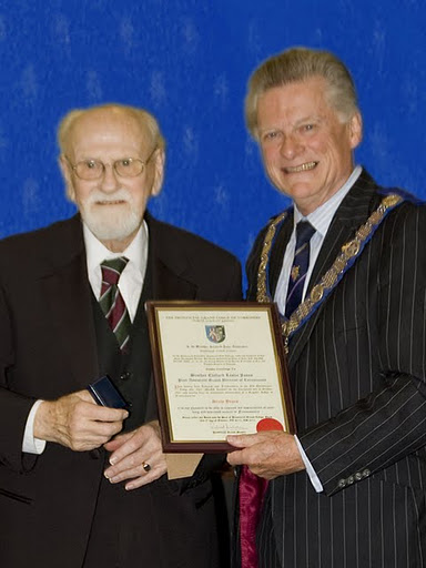 W. Bro. Jones receiving his 60 year Certificate from V.W. Jeffrey Gillyon ProvDGM